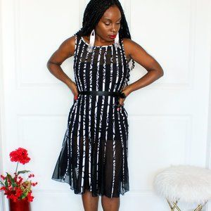 Mesh Stripe Fit and Flare Dress